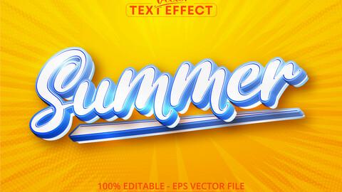 Summer text, cartoon style editable text effect