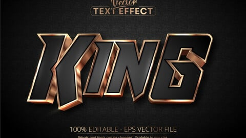 King text, luxury rose gold editable text effect on black textured background