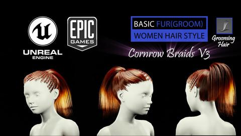 Cornrow Braids V3 Styles (Groom) For UE4