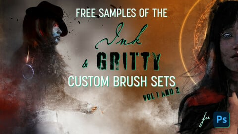 FREE samples - Ink & Gritty brush set for Photoshop