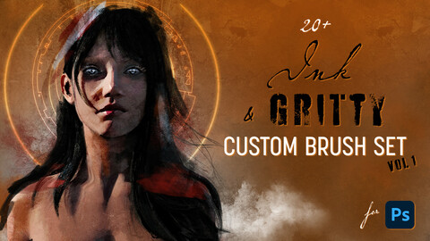 20+ Ink & Gritty brushes for Photoshop - Vol. 1
