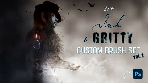 25+ Ink & Gritty brushes for Photoshop - Vol. 2
