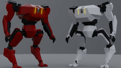 Combat Mech low poly/ GameReady/ Rigged