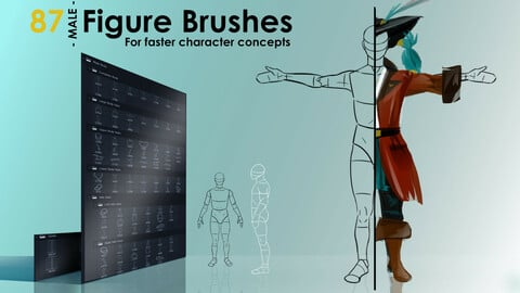 Figure Brushes - MALE - For Faster Character Concepts