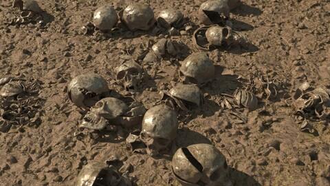 Modular 3D Ground with broken skulls LOW POLY VERSION
