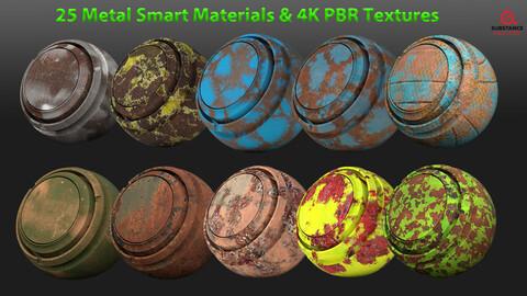 25 Metal Smart Materials & 4k PBR Texture-Vol 1