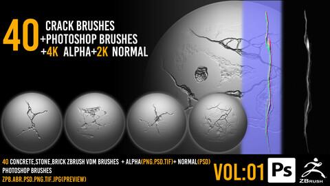 40  Zbrush Crack Brushes + 4k alpha + 2k normal + Photoshop Brushes - VOL 01