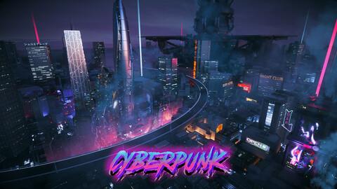C4D Octane render Cyberpunk city Magic Wonder Skyscrapers CBD japan neon