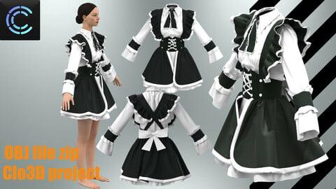 japanese maid uniform ( Clo3D project + obj files )
