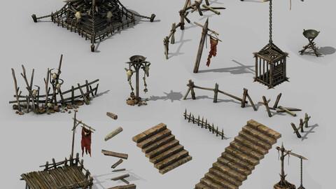 Brazier - Stairs - Platform - Flagpoles - Caged
