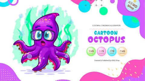 Cartoon surprised octopus