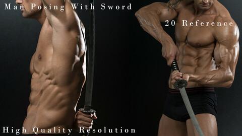 Man Posing With Sword