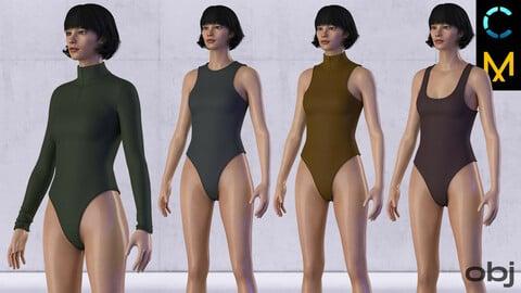 Women's bodysuits set (swimsuit, underwear, lingerie). MD / CLO 3D .zprj projects + obj