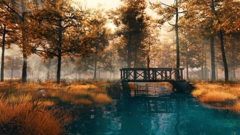 C4D octane Autumn forest river scene Primeval forest fog Outskirts Wilderness