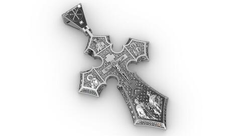 Orthodox cross with savior and saints