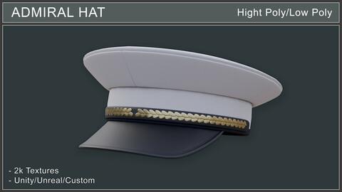 Admiral Hat - HP/LP game ready 3d asset