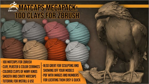 Matcaps Megapack: 100 Clays For ZBrush
