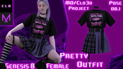 Clo3d/Marvelous designer Pretty female outfit. Zprj/Obj/Pose