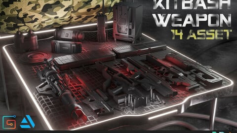 14 ASSET WEAPON  KITBASH HARDSURFACE GAME ASSET