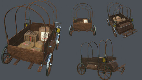Wooden Covered Cart