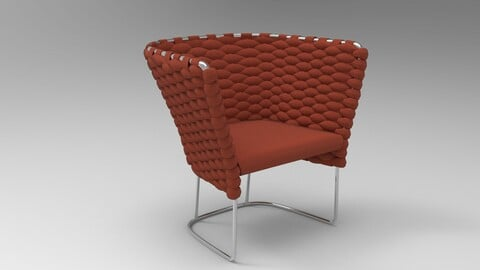 Paola Lenti Ami Chair Oxblood Red