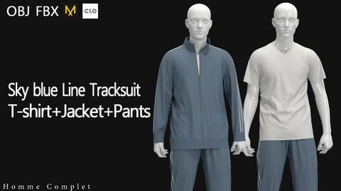 Men's Sky Blue Line Track suit