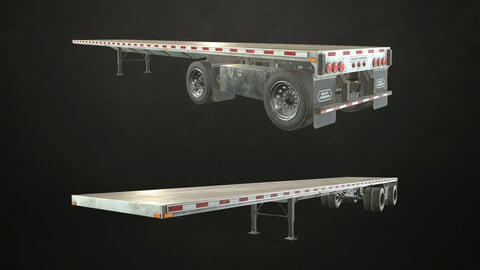 Semi Trailer Flatbed - Low Poly