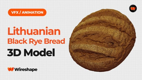 Lithuanian Black Rye Bread - Extreme Definition 3D Scanned