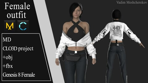 Female Modern Outfit №6. Clo 3D / Marvelous Designer project +obj