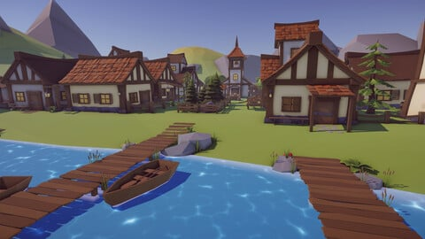 Low Poly Medieval Village