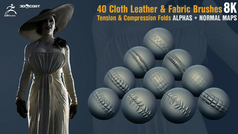 Cloth Leather & Fabric Brushes| Tension & Compression Folds  Alphas + Normal Maps [8K]