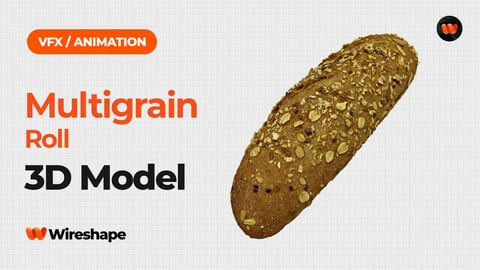 Multigrain Roll - Extreme Definition 3D Scanned