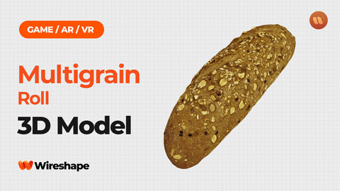 Multigrain Roll - Real-Time 3D Scanned