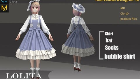 Lolita Character Dress_Maid Outfit_Dress attire with cute hat_Marvelous designer(Clo3d) project_OBJ&FBX(if needed)