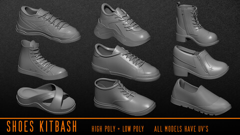 Shoes Kitbash ( OBJ / ZTL / Fbx )