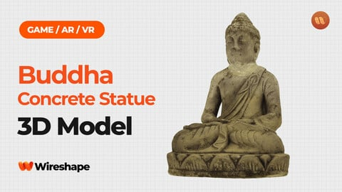 Meditating Buddha Concrete Garden Statue - Real-Time 3D Scanned