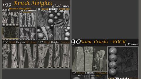 Z brush - Trunk Detail Brushes 10 Volumes + stone cracks + rock 6 volumes