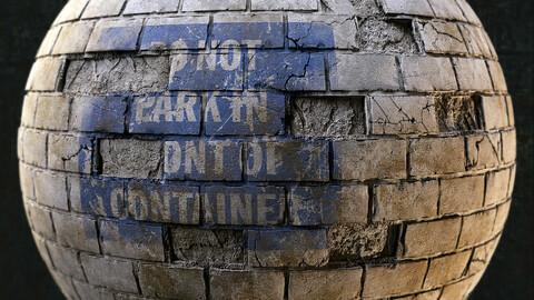 PBR - BRICK WALL, CITY, PACK, WARNING, SING, DIRT, CRACKS, SMOG - TWO 4K MATERIALS