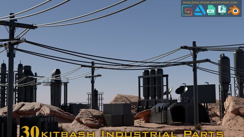 30 sci-fi kitbash Industrial Parts hardsurface