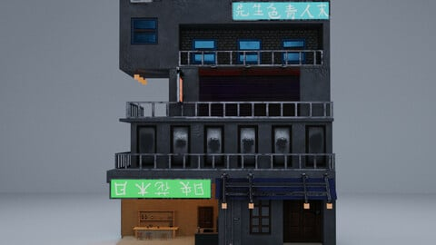 Cyberpunk Building 4 3D Model