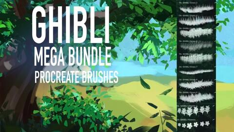111 Ghibli mega bundle Procreate brush set