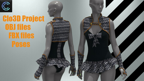 GIRLS Costume ( Clo3d Project+FBX+OBJ )