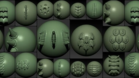 28 VDM Brushes, reptile (dragon) parts,skin.