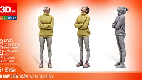 Cleaned Raw 3D Body scan of Waja Standing