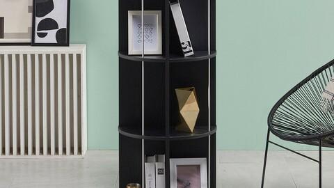VONI round three-stage revolving bookshelf
