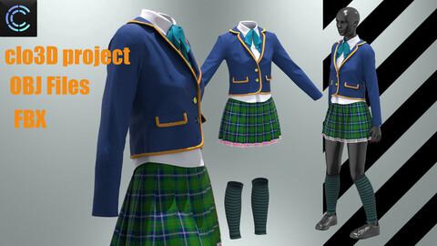 School uniform for girls (Clo3D project+OBJ+FBX)