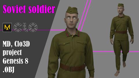 Soviet Soldier's Uniform.  Marvelous Designer, Clo3d project + OBJ