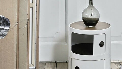 Albi 2-tier round cabinet 3colors