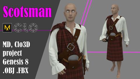 Scotsman in the kilt. Marvelous Designer, Clo3d project + OBJ, .FBX