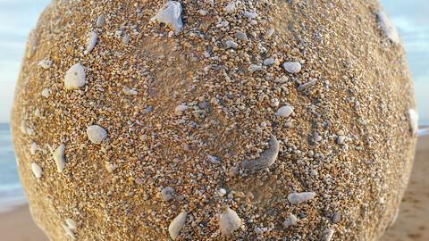 PBR - BEACH SAND 2, SHELLS, PEBBLES, ROCKS - 4K MATERIAL